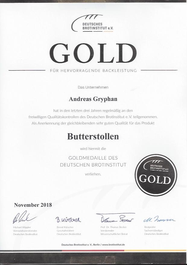 Zertifikat Butterstollen 2018
