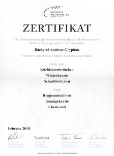 Zertifikat Qualitätsprüfung Brotinstitut 2018