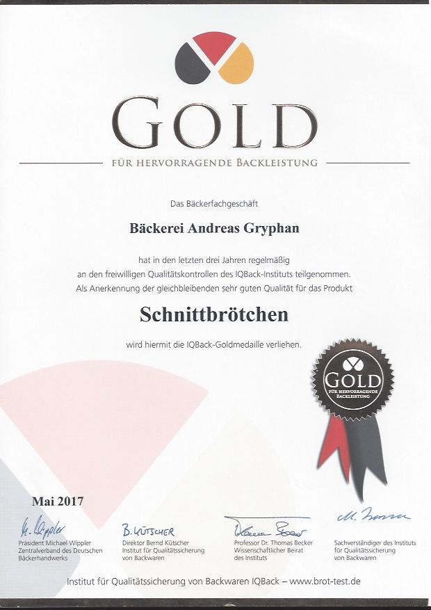 Zertifikat Schnittbrötchen 2017