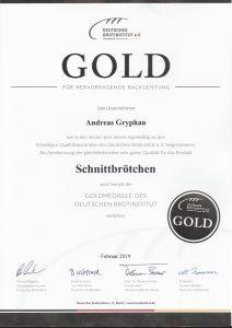 Zertifikat Schnittbrötchen 2019